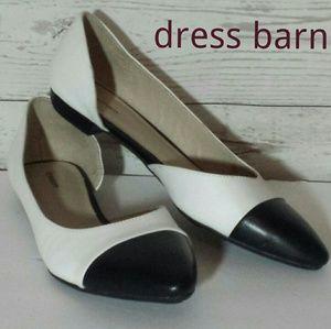 Flats with slight heel size 7 Black & White